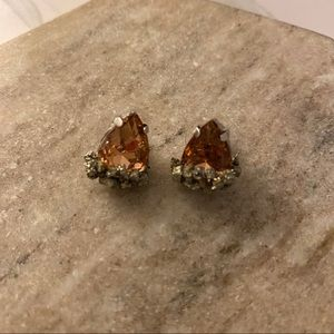 Pyrite and Peach Stud Earrings